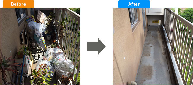 ベランダ植木処分・観葉植物処分・土・プランター処分 Before,After 3
