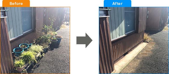 庭植木処分・観葉植物処分・土・プランター処分 Before,After 1